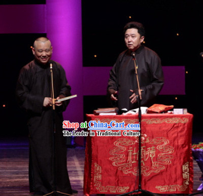 Traditional Chinese Minguo Cross Talks Long Robe for Men