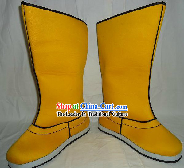 Ancient Chinese Emperor Yellow Boots for Men