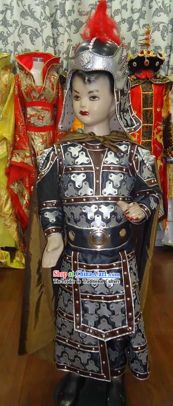 Ancient Chinese General Costume and Helmet Complete Set for Children