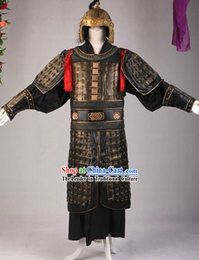 Ancient Chinese General Armor Costumes and Hat Complete Set