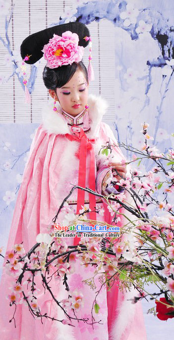 Qing Dynasty Palace Princess Clothing and Cape for Kids