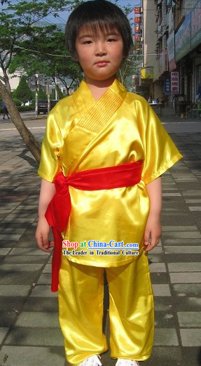 Traditional Chinese Embroidered Lotus Kung Fu Tai Chi Uniform for Kids