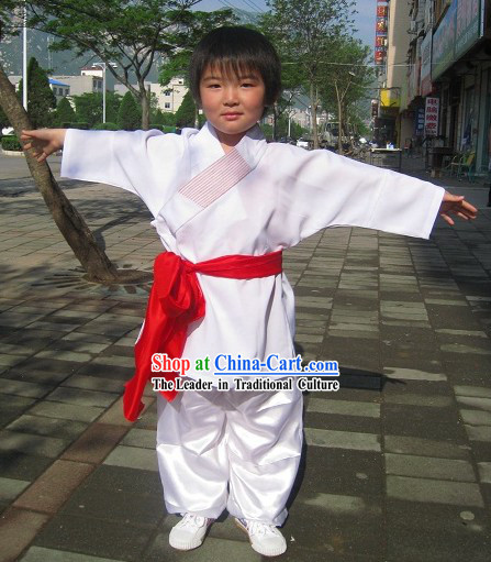 Traditional Chinese White Embroidered Lotus Kung Fu Tai Chi Uniform for Kids
