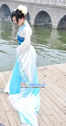 Ancient Chinese White and Blue Lady Clothes and Headpiece