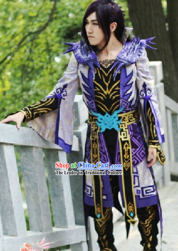 Ancient Chinese Fairy SD Kung Fu Costume and Headpiece for Men