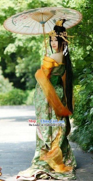 Handmade Ancient Chinese Palace Style Princess Costumes and Headpiece Complete Set