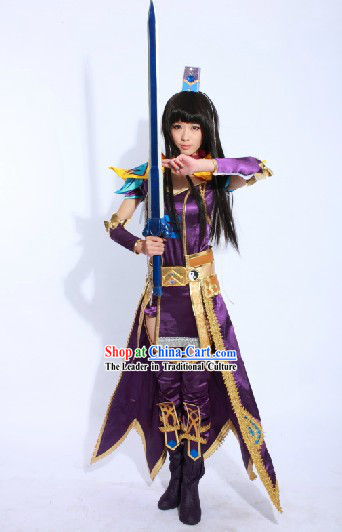 Ancient Chinese Swordswoman Costume and Headpiece