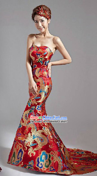 Long Tail Chinese Classic Red Dragon Wedding Evening Dress for Women