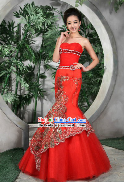 Lucky Red Chinese Style Phoenix Evening Dress for Brides