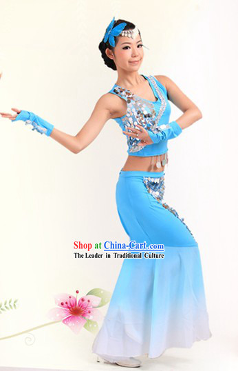 Blue Chinese Dai Ethnic Dance Costumes for Women