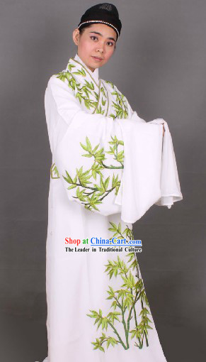 Ancient Chinese White Embroidered Bamboo Young Men Clothes