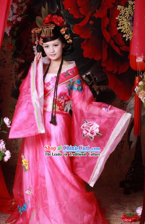 Tang Dynasty Pink Beauty Butterfly and Flower Costumes Complete Set