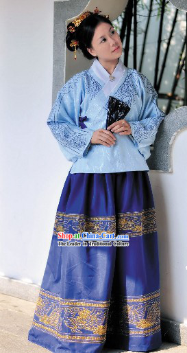 Ancient Chinese Ming Dynasty Embroidered Flower Hanfu Clothing Complete Set
