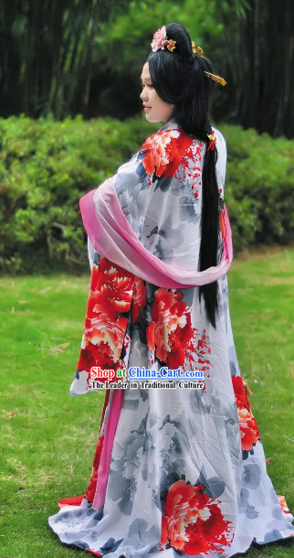 Ancient Chinese Tang Dynasty Empress Clothing and Headwear Complete Set