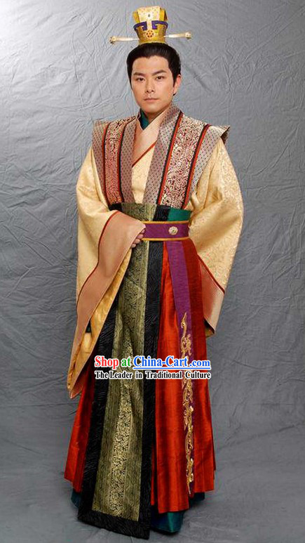 Ancient Chinese Prince Clothing and Coronet Complete Set