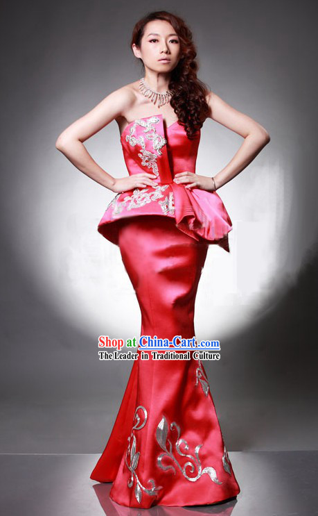 Lucky Red Chinese Wedding Evening Dress for Bride