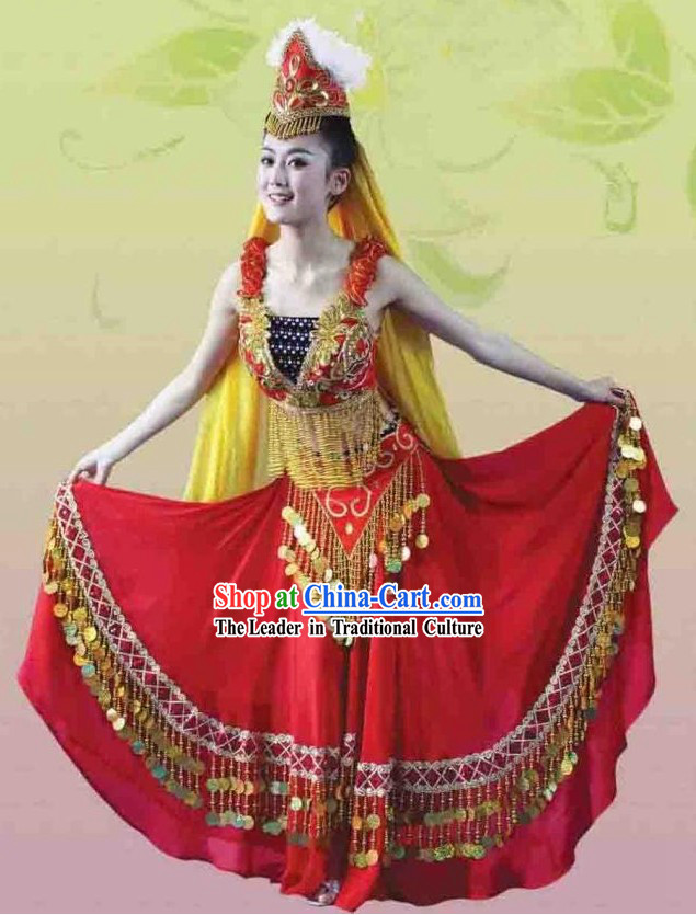 China Xinjiang Uyghur Nationality Female Dance Costume and Hat