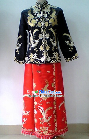 Traditional Chinese Wedding Grandmother Dragon Phoenix Clothing
