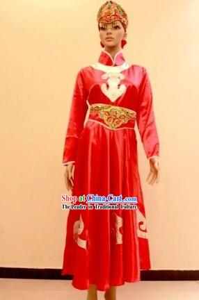 Traditional Mongolian Red Dance Costumes and Hat