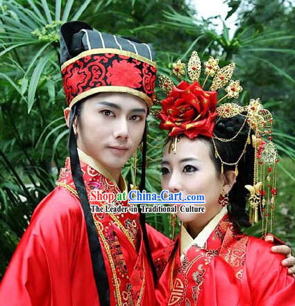 Ancient Chinese Wedding Bridegroom Hat and Bride Hair Accessories