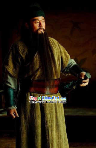 Ancient Chinese Costume Three Kingdoms Hero Guan Yu Costumes and Headpiece Complete Set for Men