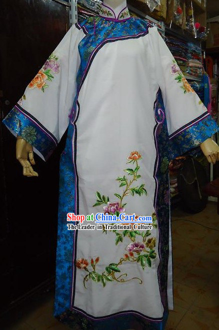 Qing Dynasty Princess White Embroidered Costume for Women