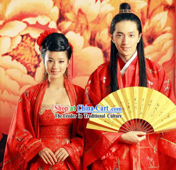 Ancient Chinese Wedding Clothing 2 Sets for Men and Women