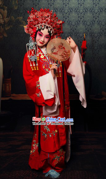 Chinese Beijing Opera Red Actress Costume and Phoenix Crown