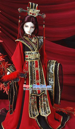 Chinese Prince BJD Halloween Costume Wedding Dress and Hat Complete Sets for Bridegroom