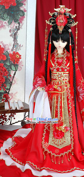 Ancient Chinese Imperial Princess Red Hair Accessoreis and Wig Complete Set