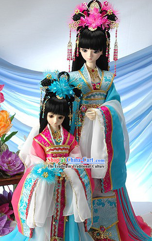 Ancient Chinese Palace Empress and Prince Mother and Daughter Costumes, Wig, Hair Accessories