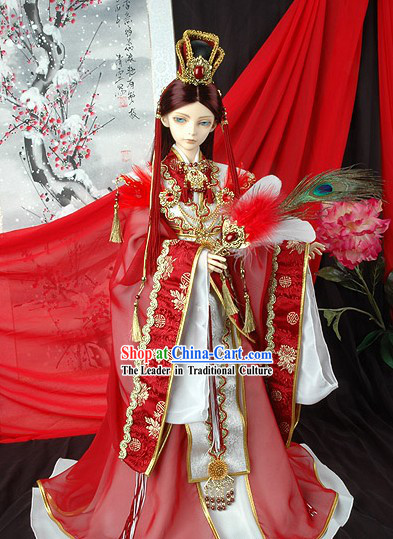 Ancient Chinese Imperial Prince Wedding Dress and Crown Complete Set
