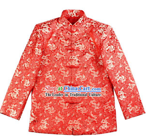 Ancient Chinese Lucky Red Dragon Wedding Blouse for Bridegrooms
