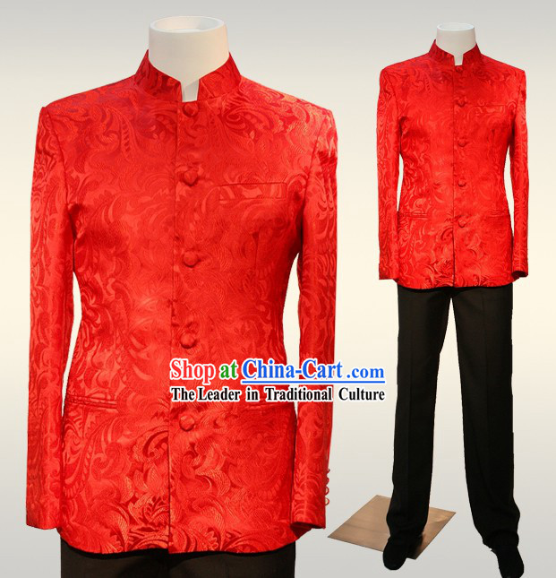 Chinese Mandarin Red Wedding Ceremonial Blouse for Bridegrooms