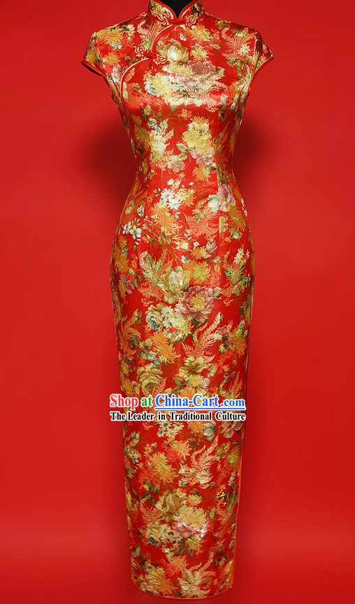 Traditional Chinese Prosperous Peony Qipao for Women