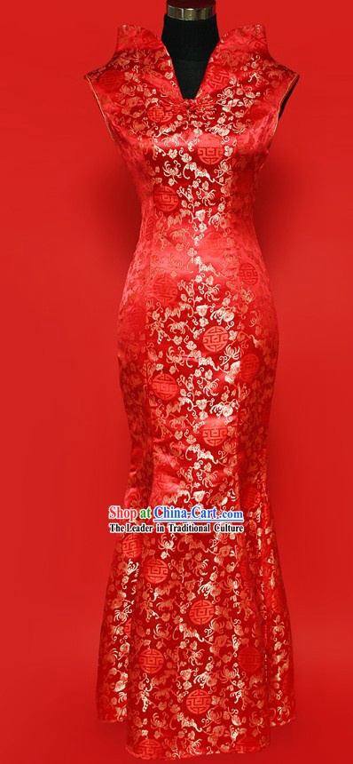 Unique Design Fish Tail Wedding Cheongsam for Brides
