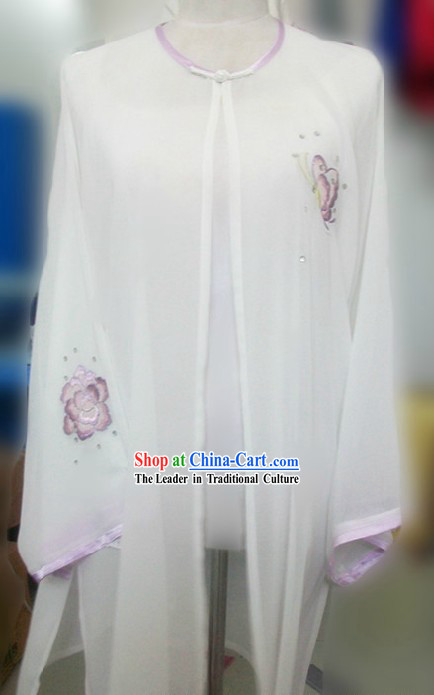 White Embroidered Butterfly Silk Kung Fu Blouse and Cape