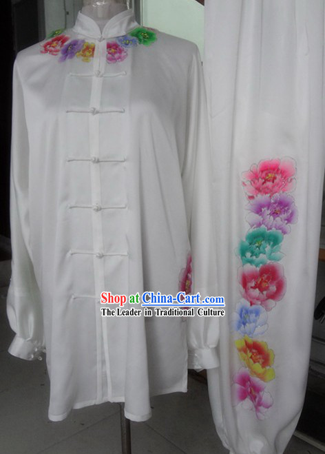 White Embroidered Rainbow Flower Kung Fu Competition Dress Complete Set