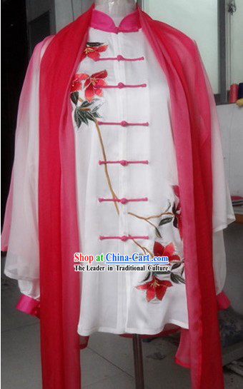 Supreme Embroidered Flower Gong Fu Silk Blouse, Pants and Cape Complete Set
