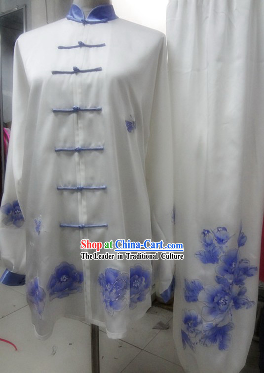 Supreme Embroidered Blue Flower Silk Kung Fu Blouse and Pants Set