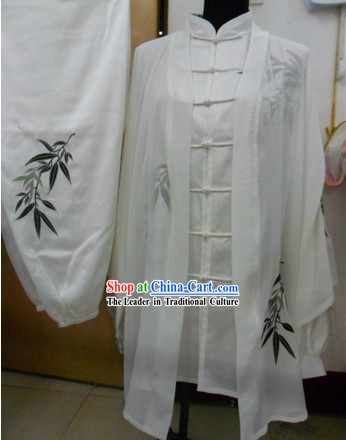 White Graceful Bamboo Silk Kung Fu Uniform for Men