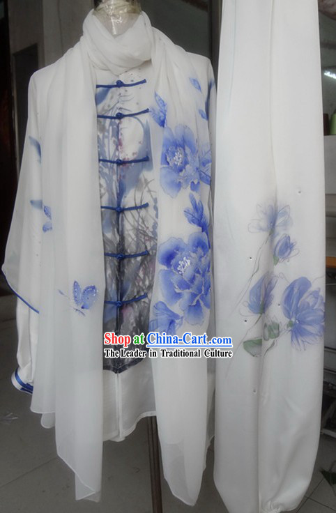 Supreme Silk Embroidery Wushu Spirit Costume and Scarf for Men