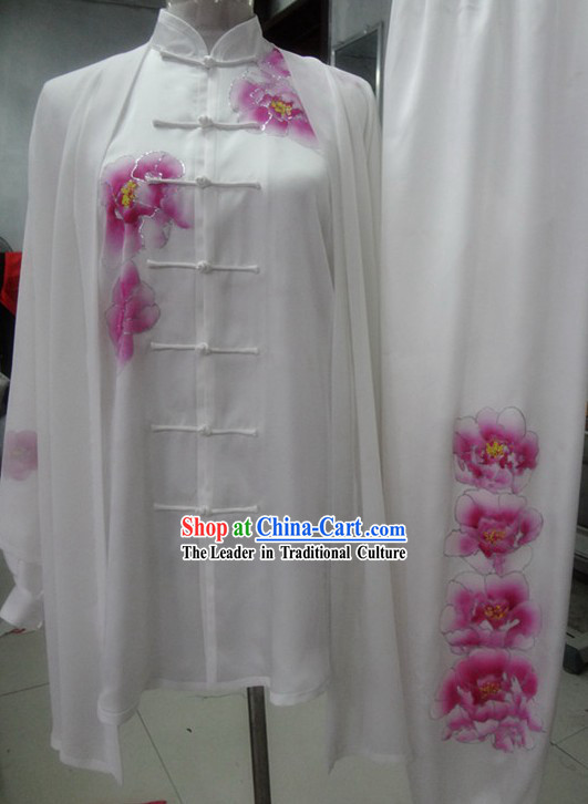 Supreme Silk White Embroidered Flower Taiji Clothes, Pants and Cape