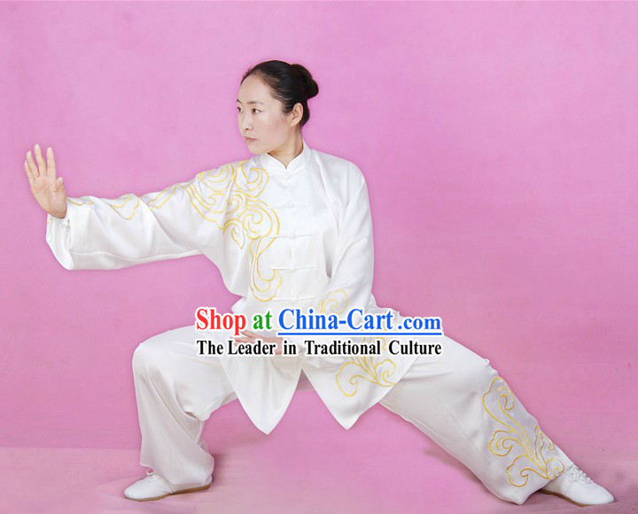 Embroidered Auspicious Cloud Silk Tai Chi Costumes for Both Men and Women