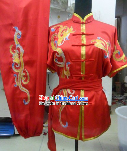 Chinese Classic Red Silk Embroidery Wu Shu Uniform for Men