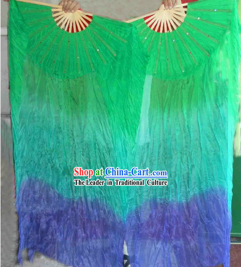 Traditional Three Color Transition Silk Dance Fan