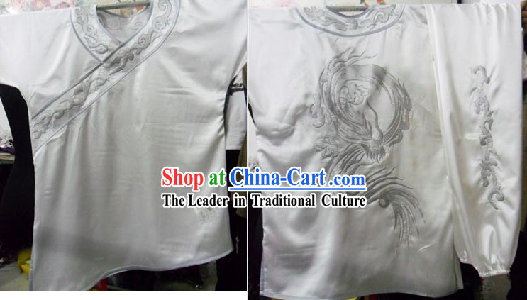 White Changquan Long Fist Dragon Formal Tai Chi Uniforms for Men
