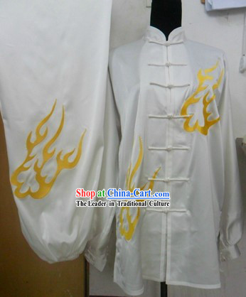 White Flame Pattern Kung Fu Silk Suit for Men