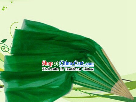 Chinese Green Dance Fan with Long Trail
