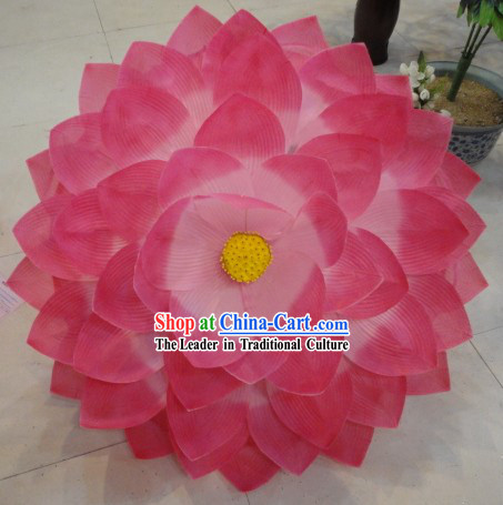 Chinese Classic Pink Lotus Flower Dance Umbrella